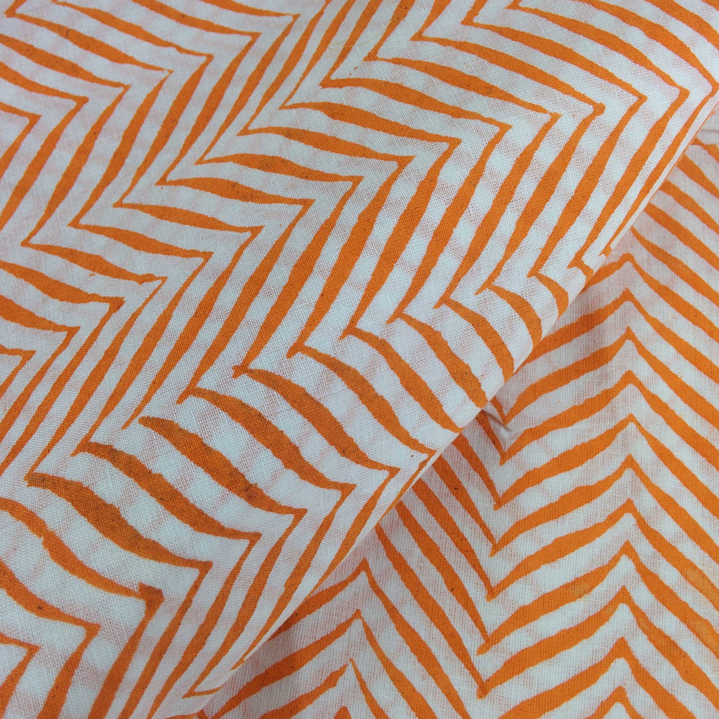 Orange and White Chevron Print Soft Cambric Cotton Fabric Buy By Meter