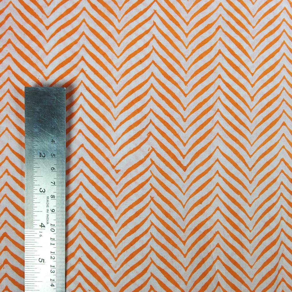 DesiCrafts Orange and White Chevron Print Soft Cambric Cotton Fabric Buy By Yard