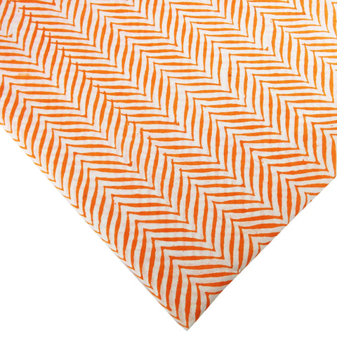 DesiCrafts Orange and White Chevron Print Soft Cambric Cotton Fabric