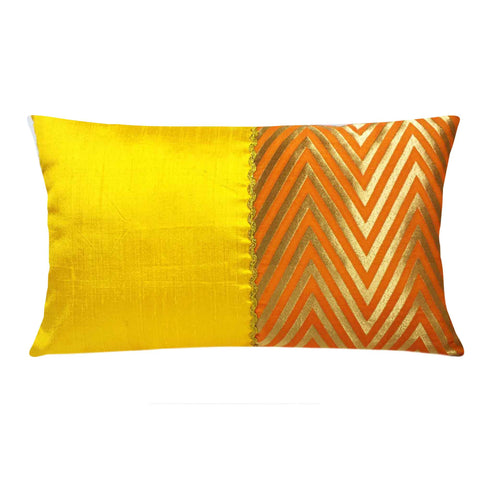 Orange Yellow Gold Banrasi Silk Pillow Cover By DesiCrafts