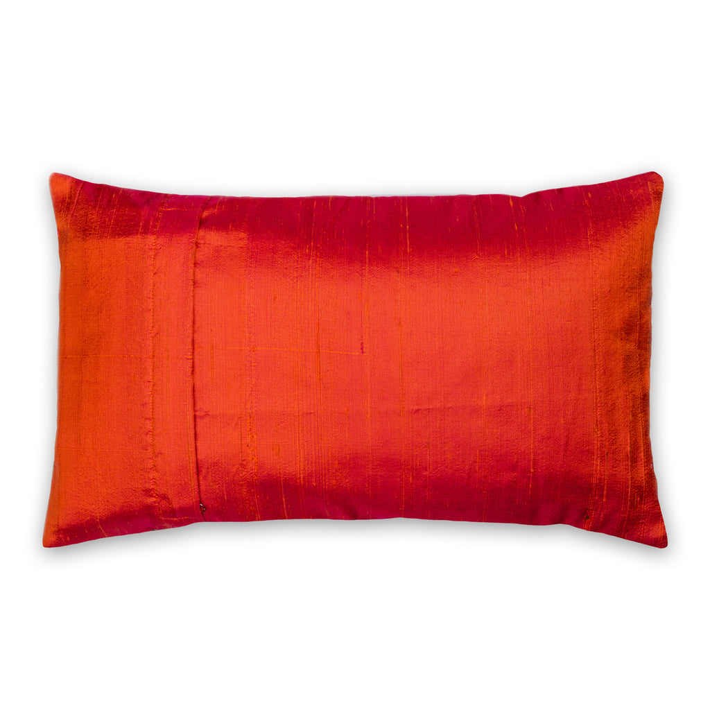 Orange and Mud Color Block Raw Silk Throw Pillow Cover