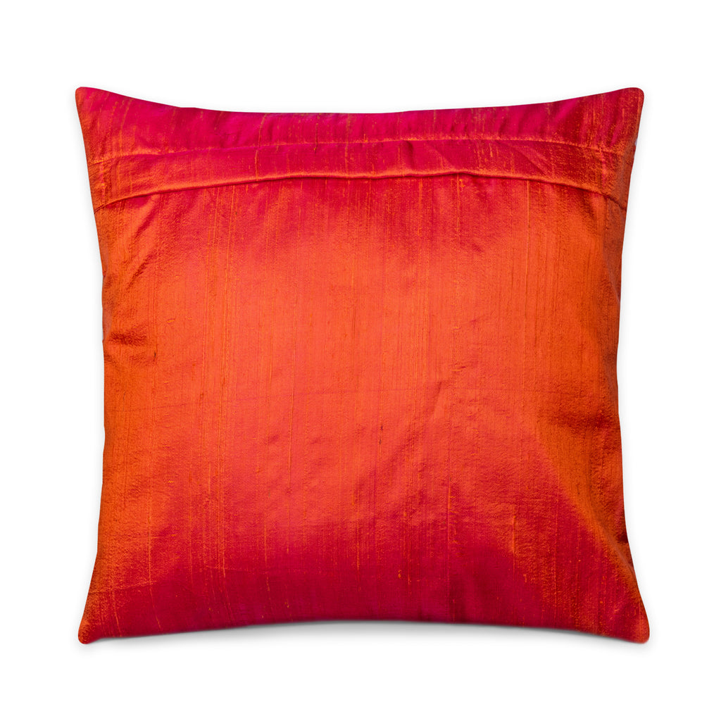 Orange Color Block Raw Silk Pillow Cover Handmade in India