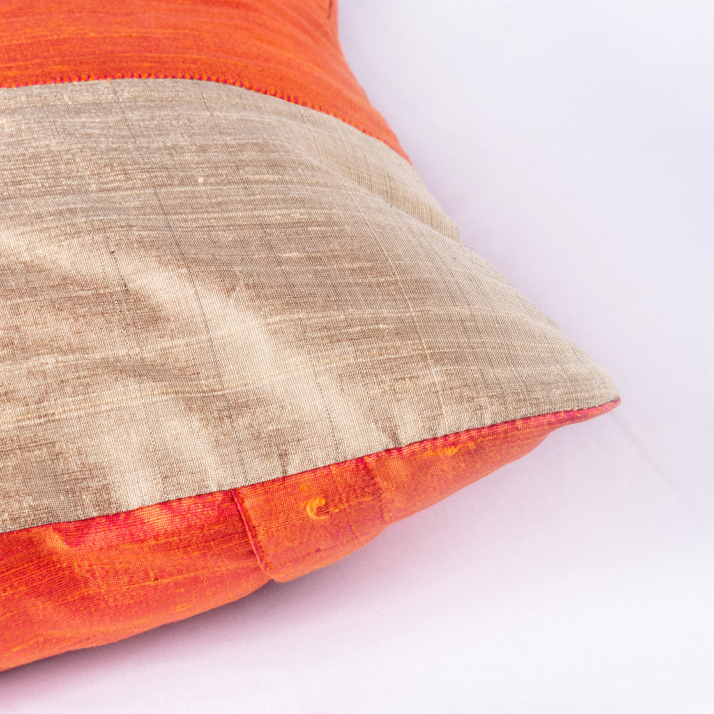 Hazel Raw Silk Pillow Cover Handmade in India