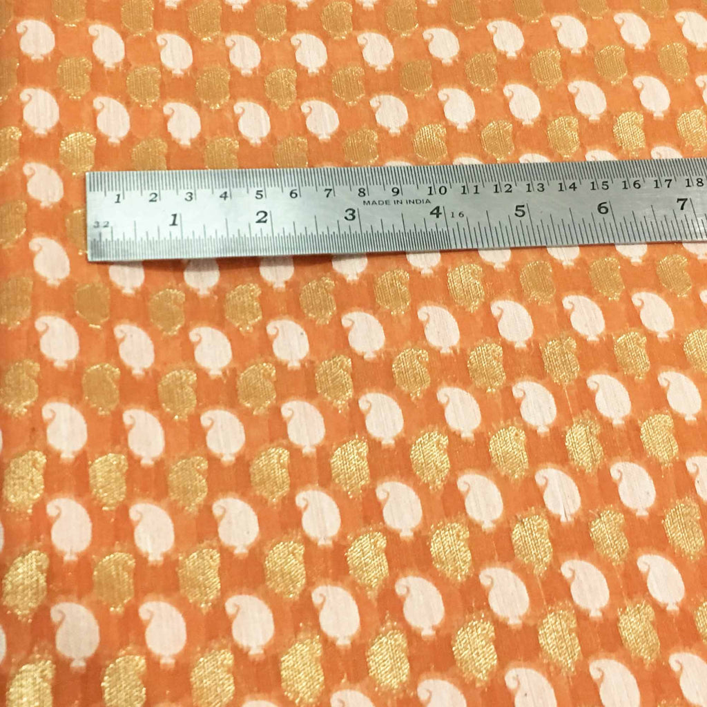Peach and gold handwoven chanderi fabric