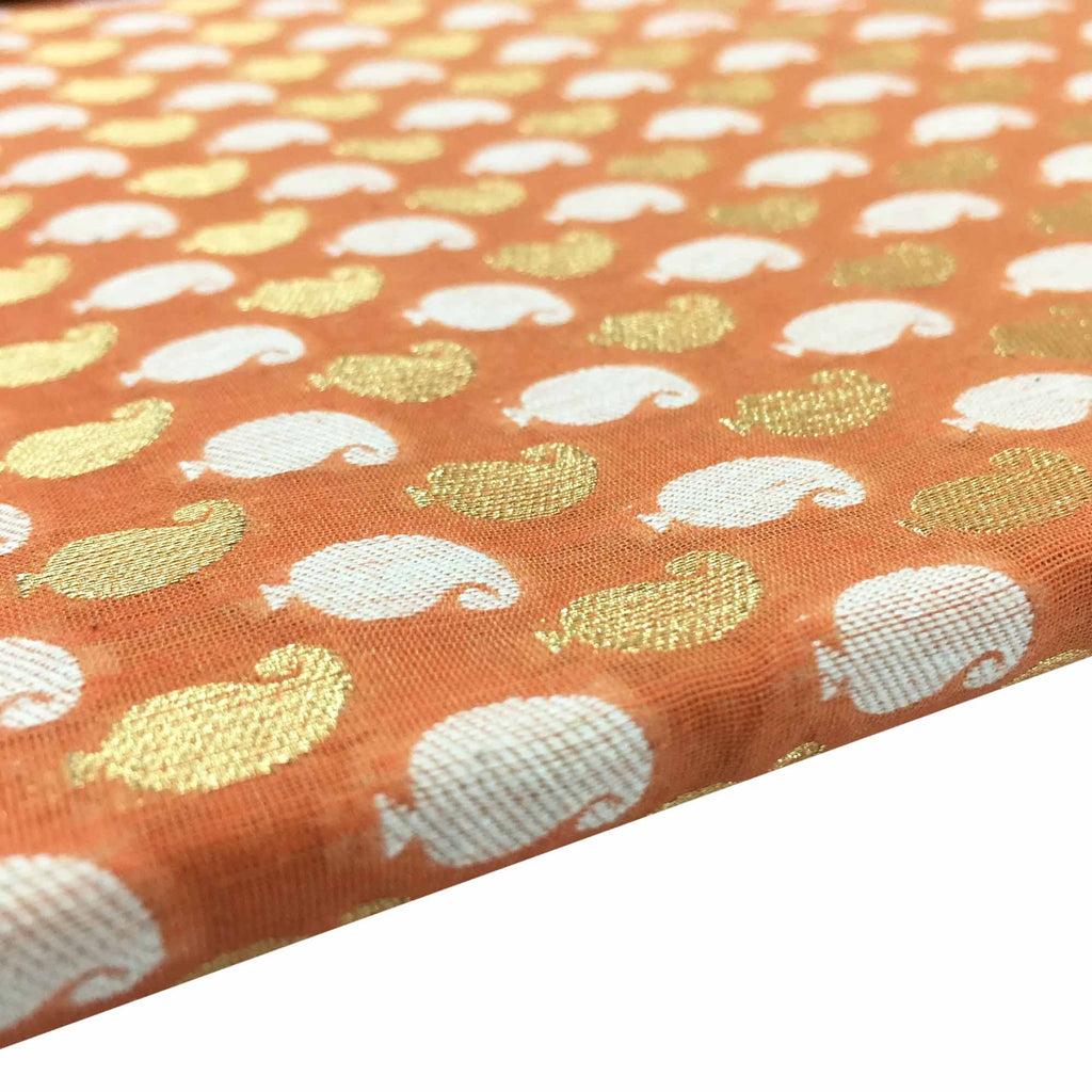 Peach and gold paisley chanderi silk fabric