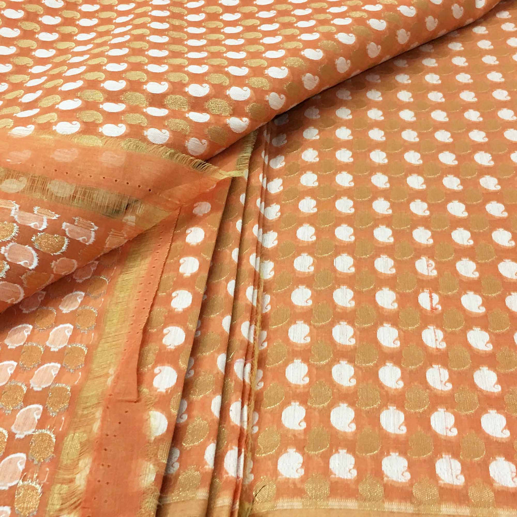 Peach and gold chanderi silk fabric buy online