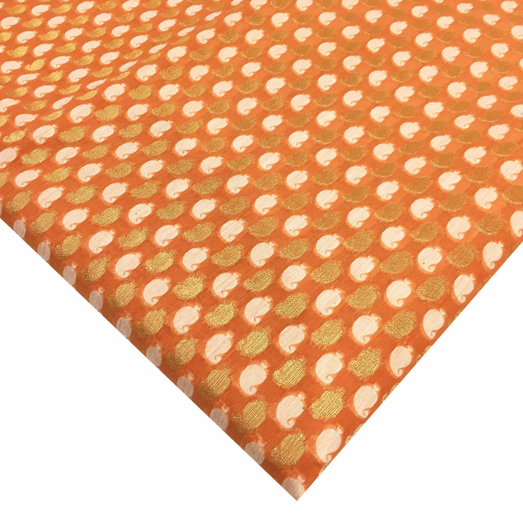 Peach and gold chanderi silk fabric