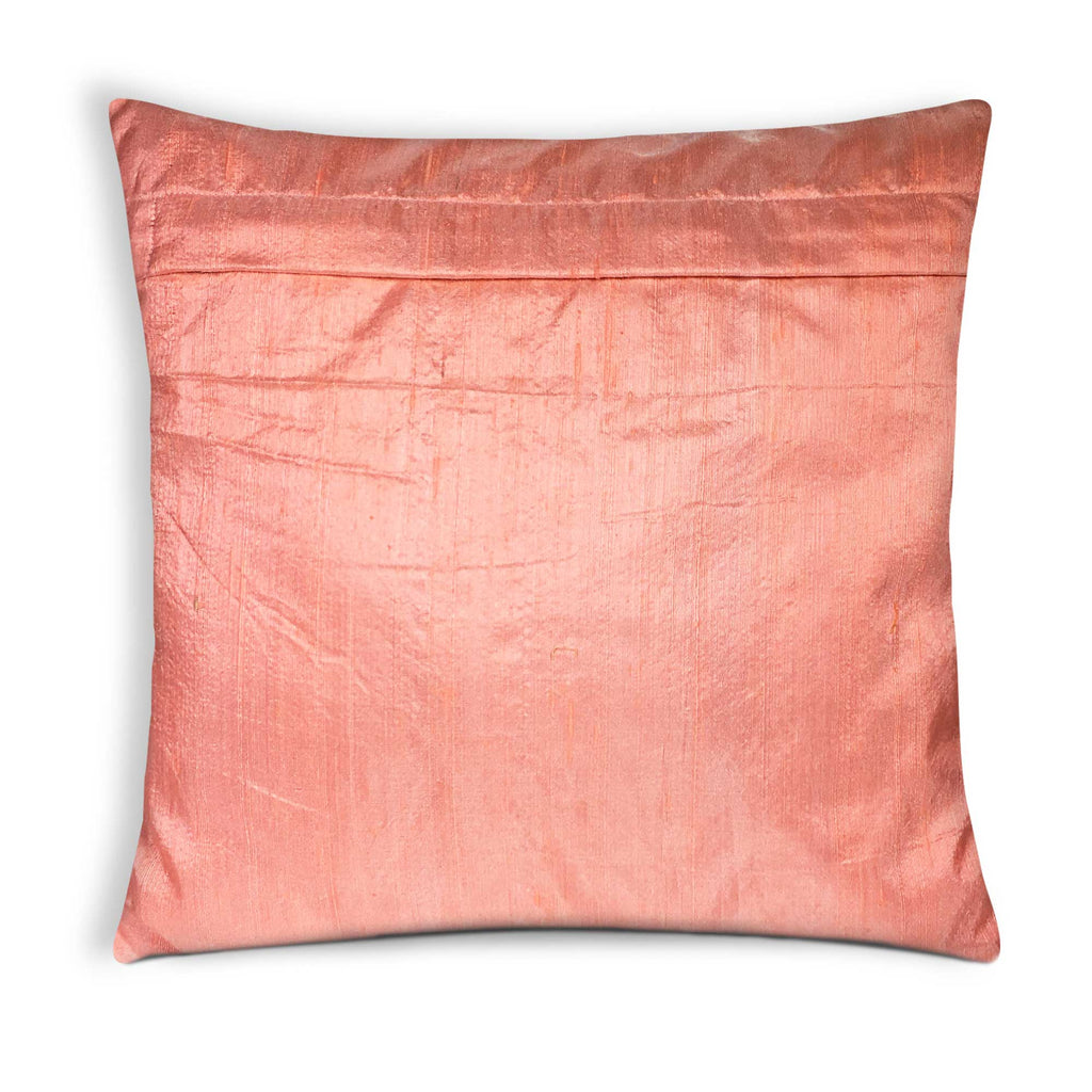 Handmade raw silk pillow cover in Peach