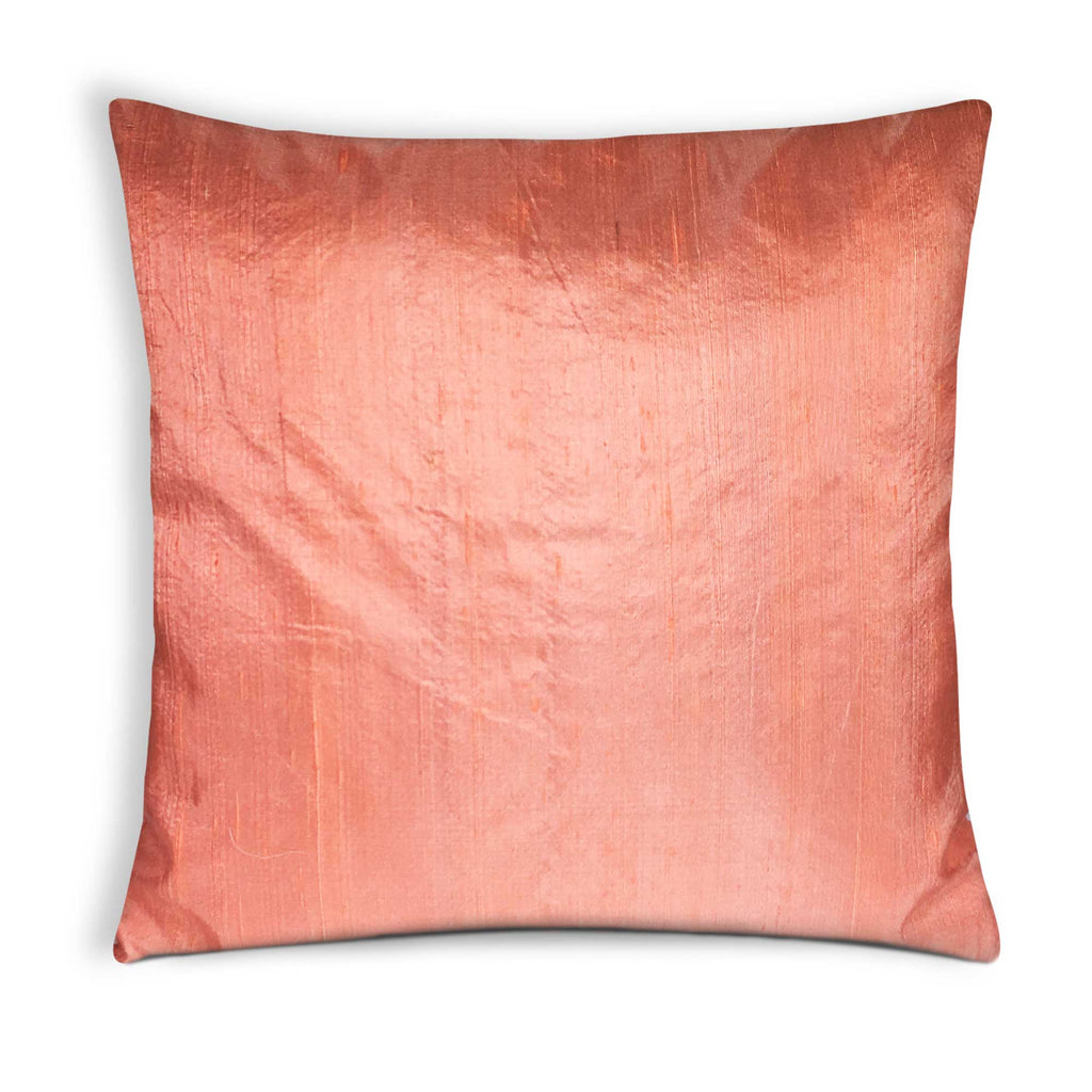 Peach Raw Silk Cushion Cover by DesiCrafts