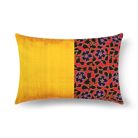 Hand embroidered kantha silk pillow cover buy online