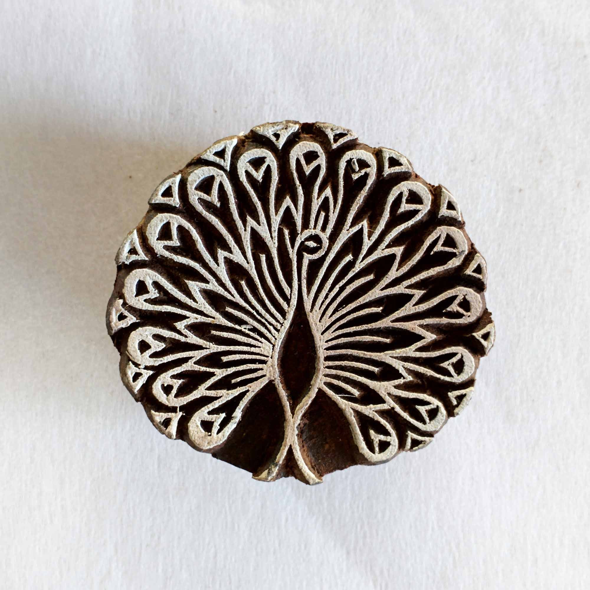 Peacock Wooden Block Printing Stamp For Fabric And Paper
