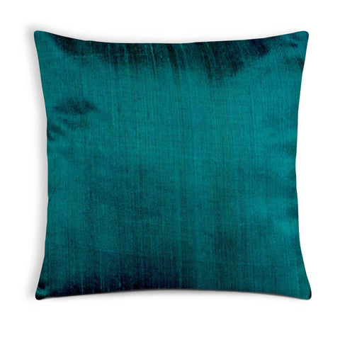 Peacock Blue Pure Raw Silk Cushion Cover