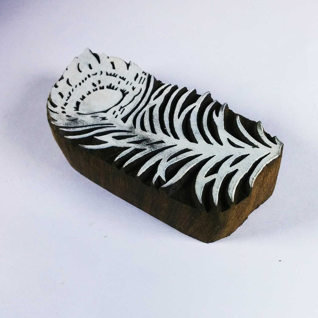 Made in India Peacock Feather Block Printing Stamp