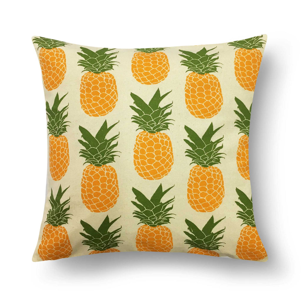 Pineapple Print Canvas Cushion Cover