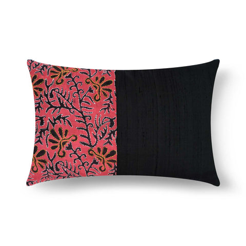 Kantha embroidery silk pillow cover