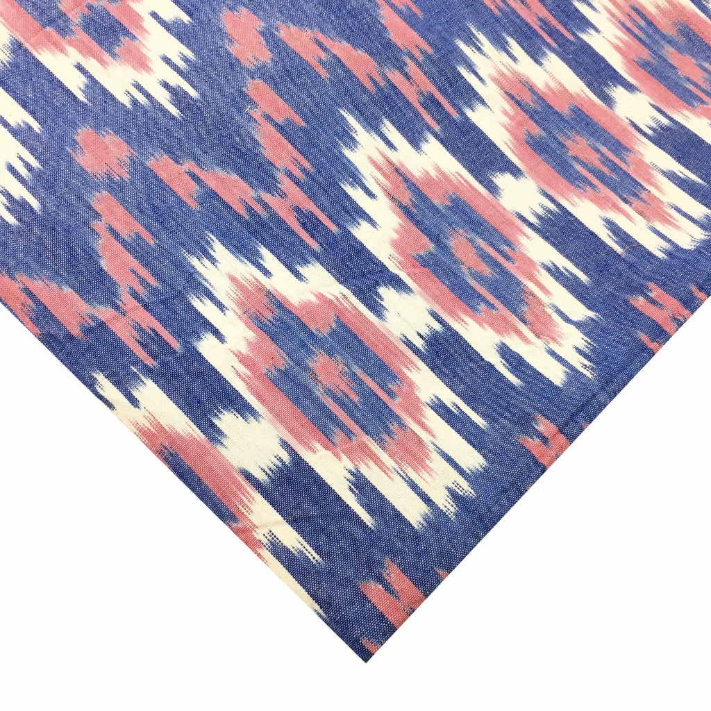 Red and Blue Upholstery Weight Ikat Cotton Fabric