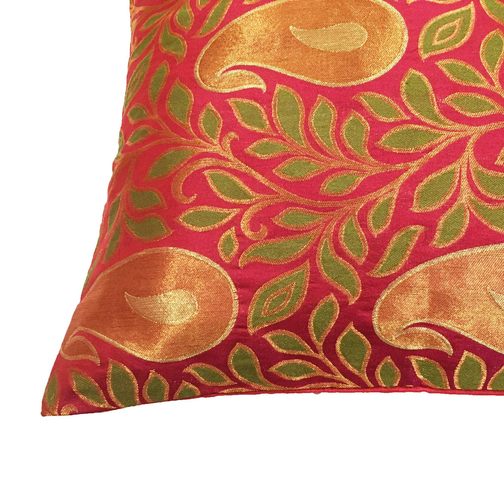 Pink and Green Brocade Decorative Silk Pillow Cover