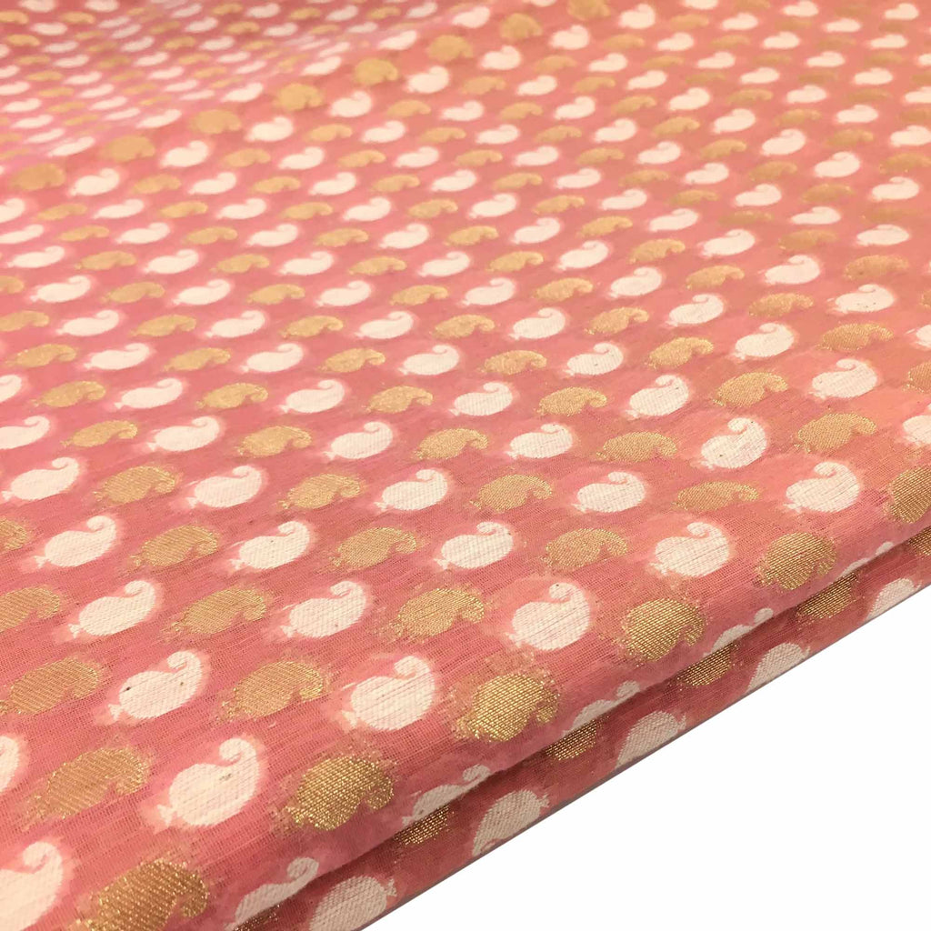 Handwoven Pink and gold chanderi silk fabric buy online