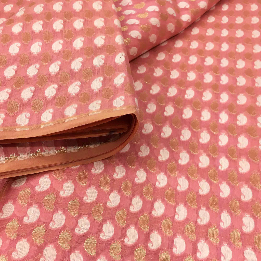 Handloom Chanderi fabric in Pink and gold