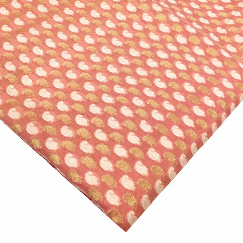 Pink and gold chanderi silk fabric by DesiCrafts