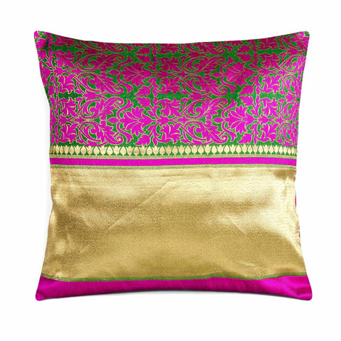 Magenta Green Gold Brocade Silk Pillow Cover
