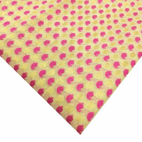 Pink and Beige Chanderi Silk Fabric