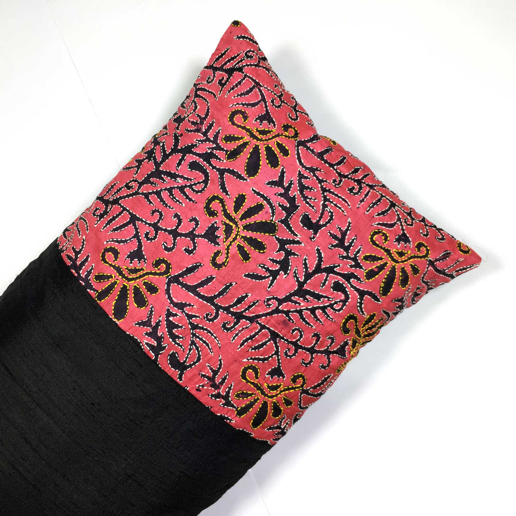 Hand embroidered pure silk lumbar cushions buy from DesiCrafts