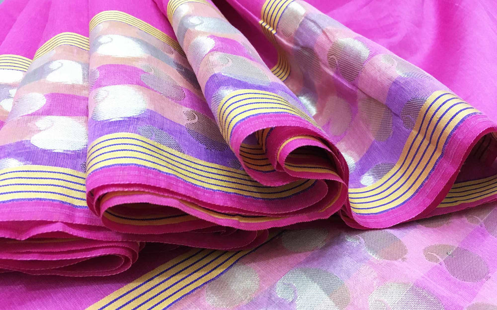 Baby Pink and Silk Chanderi Sari by DesiCrafts