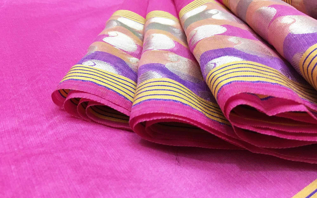 DesiCrafts Pink and Silver Chanderi Sari