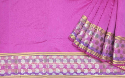 Pink and Silver Chanderi Silk Sari By DesiCrafts