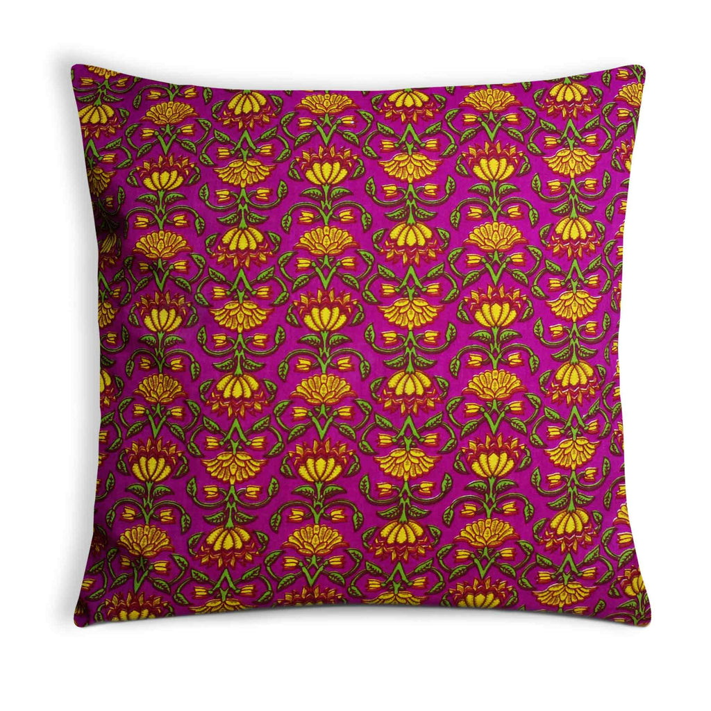Yellow and Pink Cotton Cushion Cover