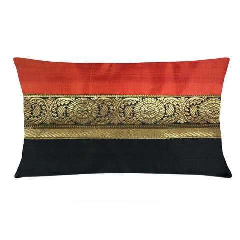 Black Gold and Coral Raw Silk Lumbar Pillow Cover