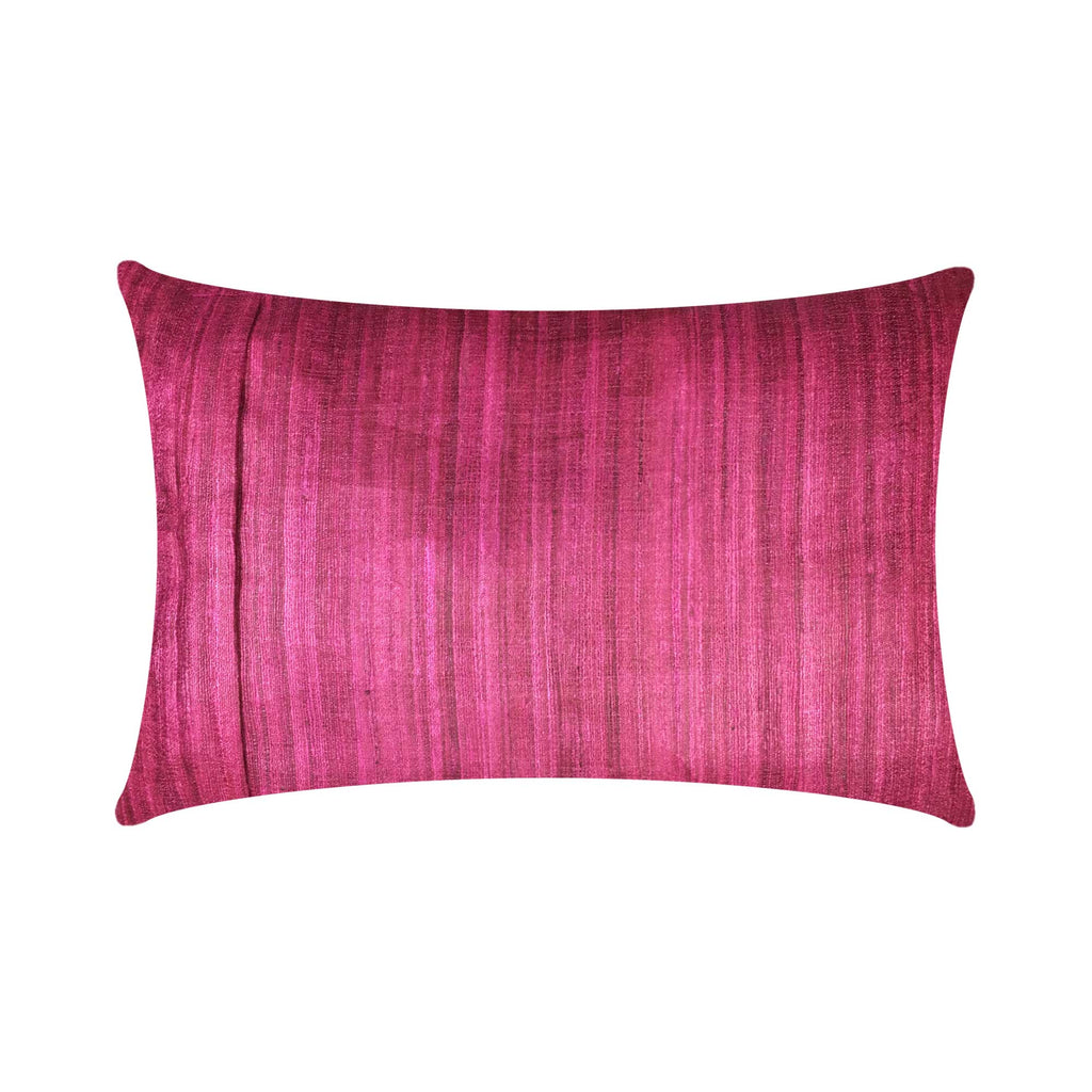Zipper style Solid magenta tussar silk pillow cover buy online