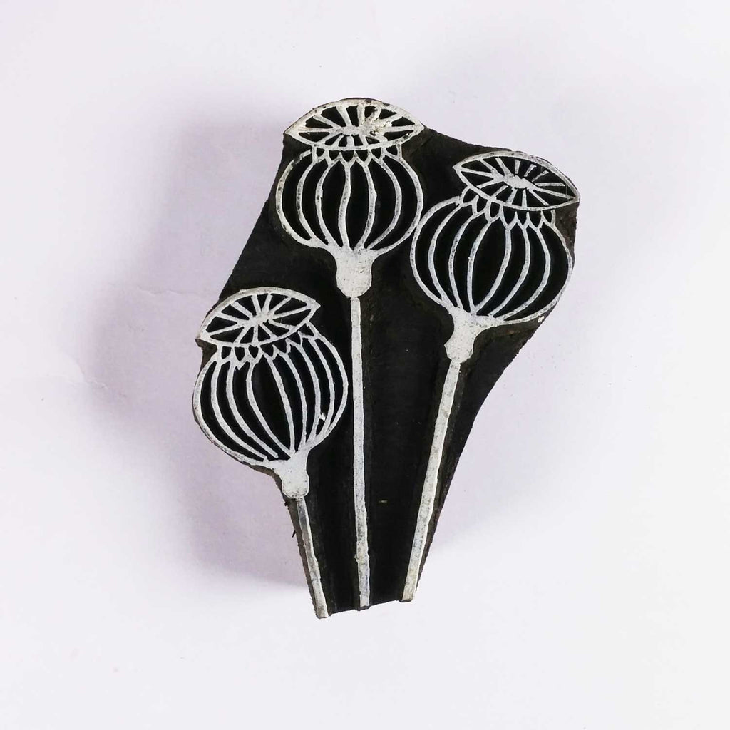Poppy Pods Wooden Block Printing Stamp