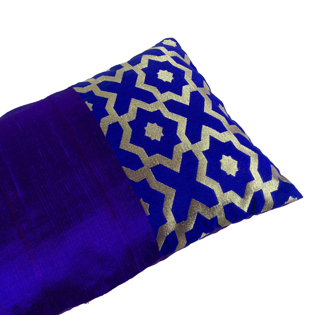 Royalblue and Gold Damask Raw Silk Lumber Pillow Cover Buy Online From India