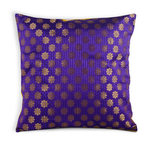 Purple Gold Silk Pillow Cover