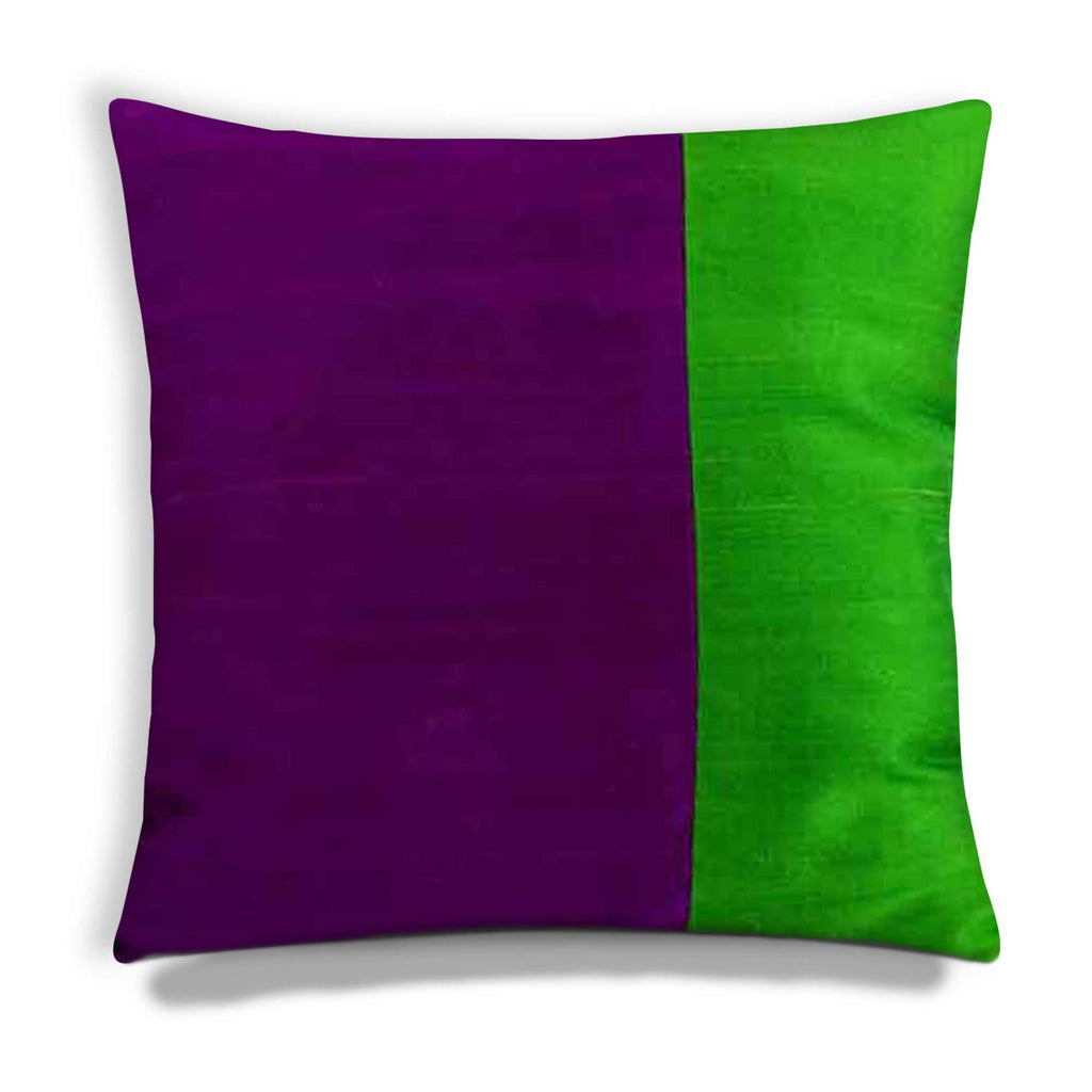 Purple Emerald Green Pillow Raw Silk Pillow Cover Buy Online from India