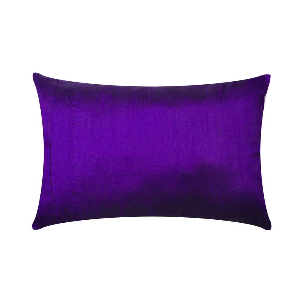 Zipper closing Red Purple and Gold Floral Silk Pillow Cover