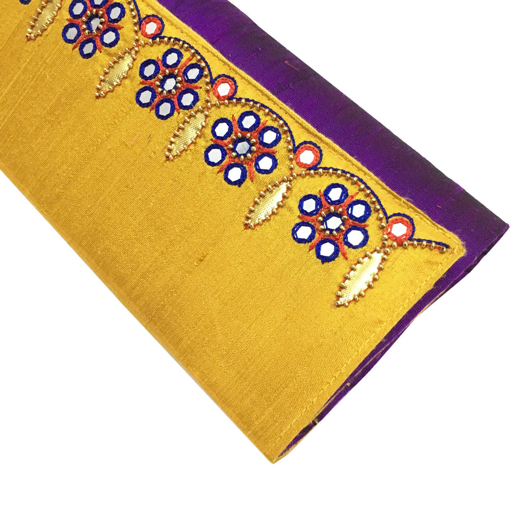 Purple Mirror Embroidery Raw Silk Clutch Purse