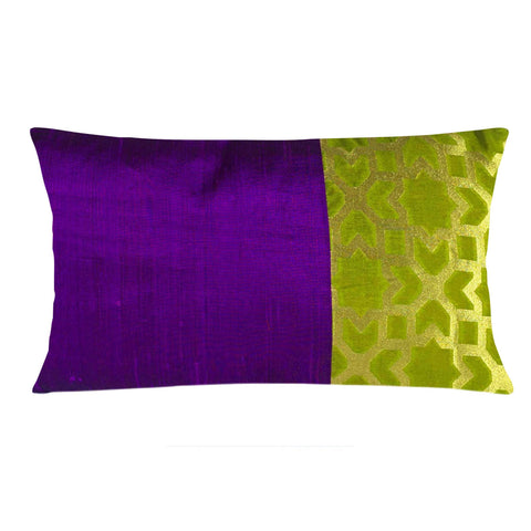 Purple and Olive Damask Raw Silk Lumber Pillow Cover Buy Online From DesiCrafts