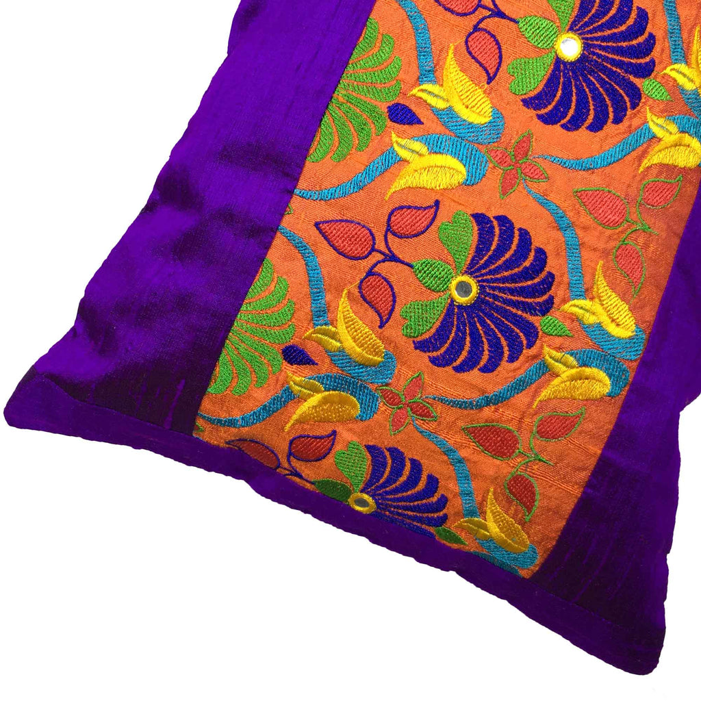 DesiCrafts Orange Purple Kutch Embroidery Pillow Cover Buy Online