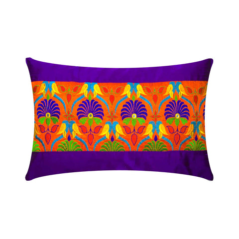 Orange Purple Kutch Embroidery Pillow Cover Buy Online