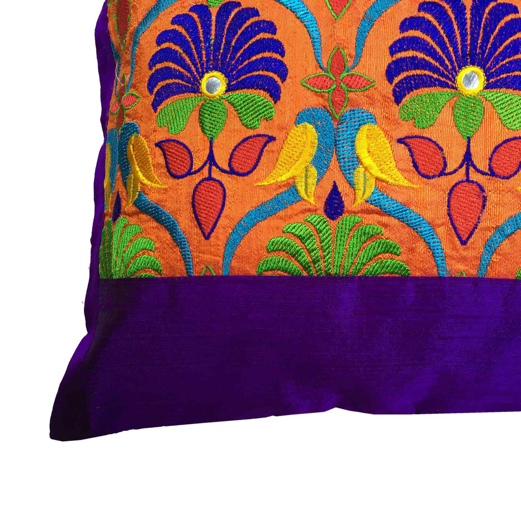 Handmade Orange Purple Kutch Embroidery Pillow Cover Buy Online