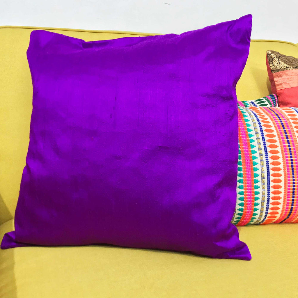 Purple Silk Cushion Cover Buy Online From India