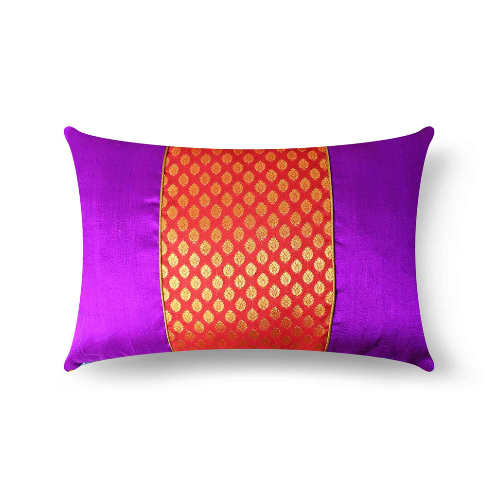 Red and Purple Banarasi Silk Pillow