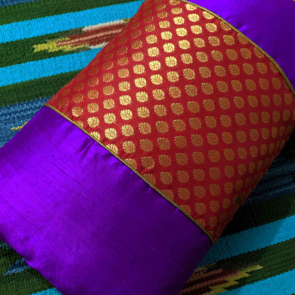 Red and Purple Banarasi Pure Silk Pillow