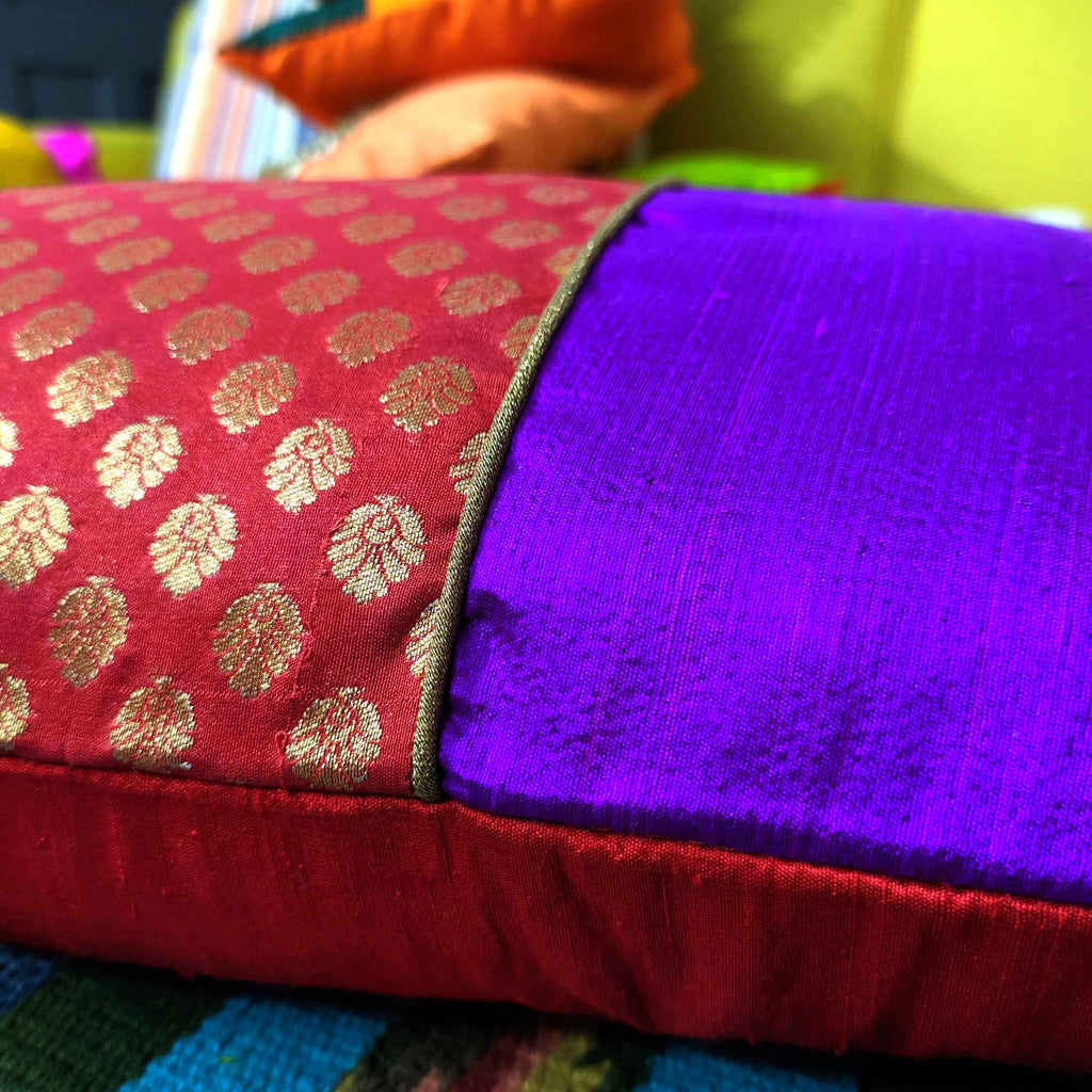 Handmade Banarasi Pure Silk Pillow Cover
