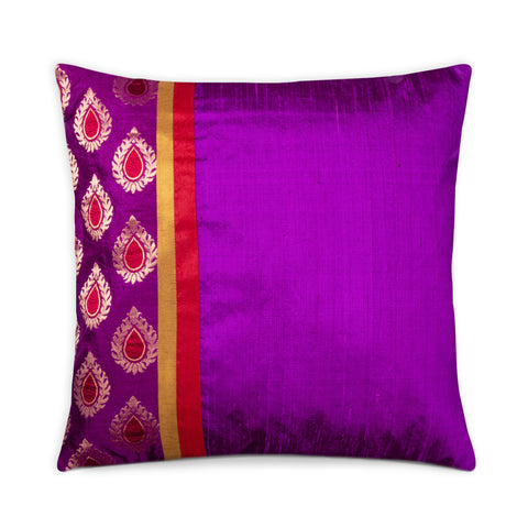 Purple Banaras Silk Pillow Cover