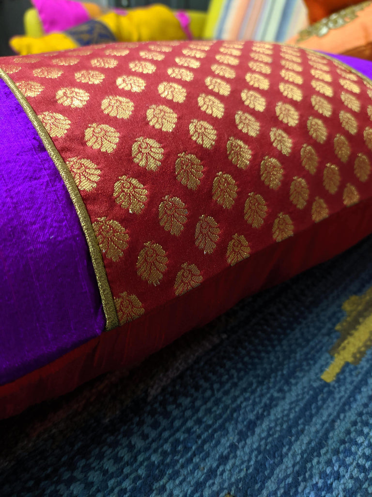 Red and Gold Banarasi Border Pure Silk Pillow