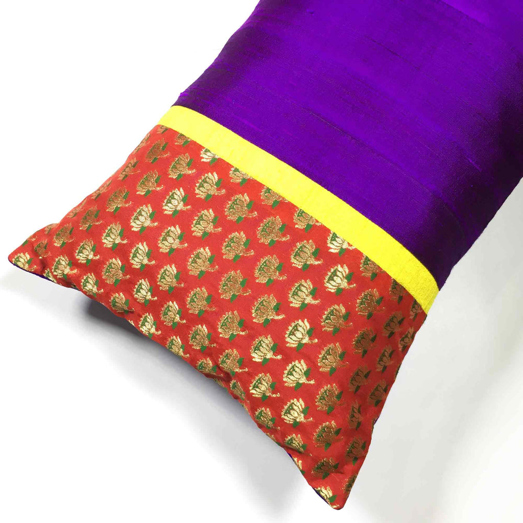 Fair trade Red Purple and Gold Floral Silk Pillow Cover